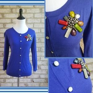 New Shocking Blue Brooch Embellished Cardigan
